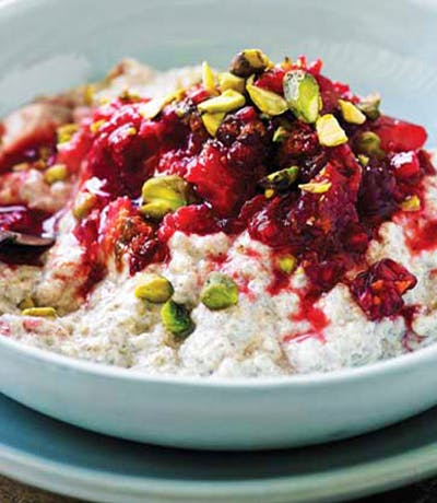 Bircher Muesli with Muddled Berries and Chia Seeds