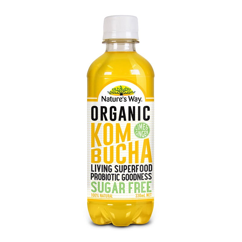 Nature's Way Kombucha Sugar Free Lime and ginger 330ml