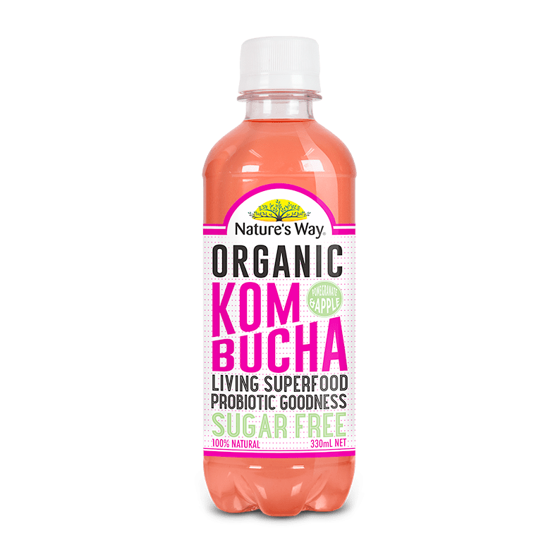 Nature's Way Kombucha Sugar Free Apple & Pomegranate 330ml