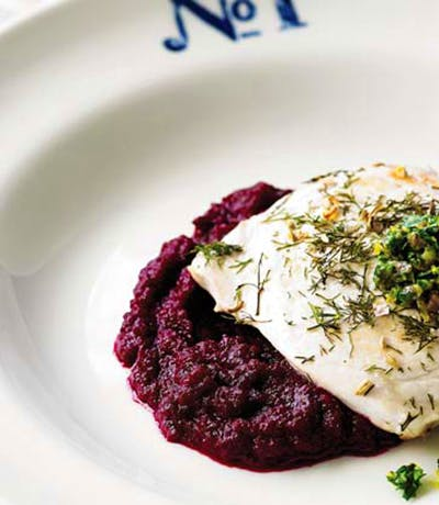 Fennel Salt Swordfish With Coconut Oil Beetroot Puree