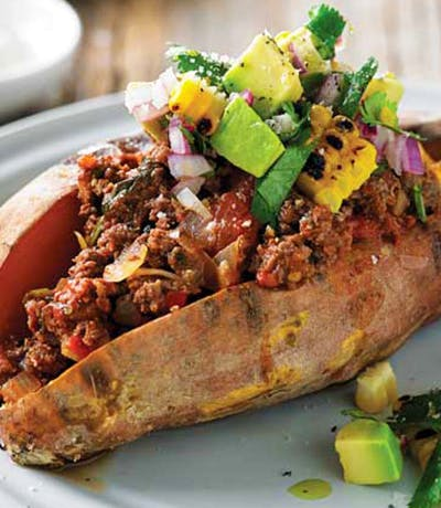 Oven-Baked Sweet Potato with Kangaroo Bolognese